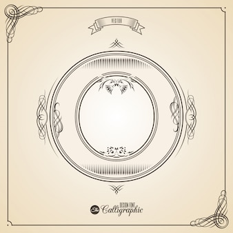 Fotn calligrafico con bordi, elementi di cornice e simboli di design dell'invito.