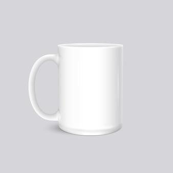 Foto bianca della tazza realistica isolata su gray