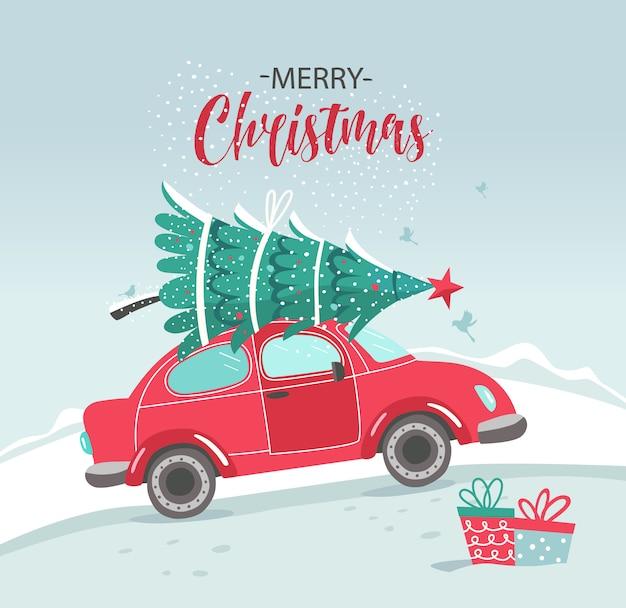 Foto con macchina rossa e albero di natale. foto di natale. pickup rosso. servizio di consegna dell'illustrazione del nuovo anno.