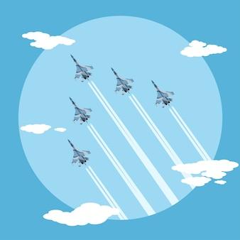 Foto di cinque aerei da combattimento che volano in ordine di combattimento, illustrazione di stile