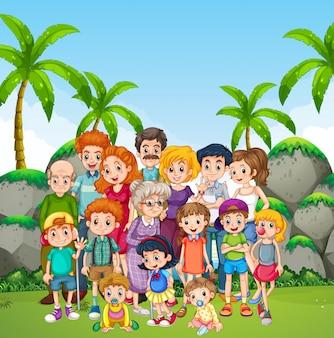 Foto di famiglia nel parco