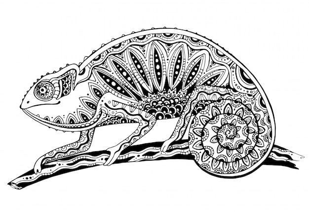 Foto di lucertola camaleonte bianco e nero in stile tatuaggio