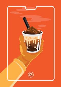 Foto di marketing online con latte al cioccolato con perla di taiwan