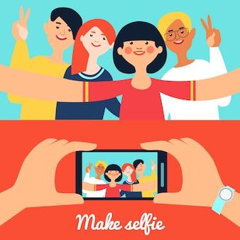 Foto di selfie di banner di amici