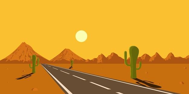 Foto di strada nel deserto, cactus, montagne e sole al tramonto, illustrazione di stile