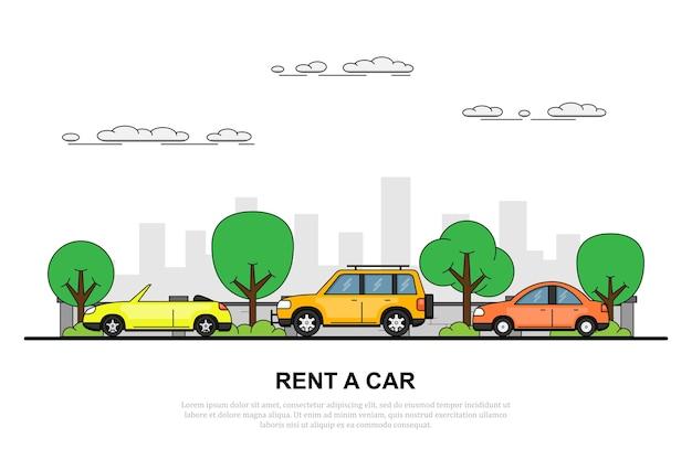 Foto di tre vetture sul ruggito con sillhouette grande città sullo sfondo, noleggiare un concetto di auto