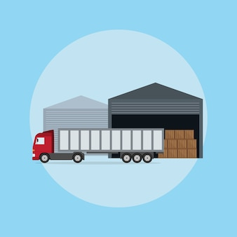 Foto di un camion davanti al magazzino, illustrazione di stile