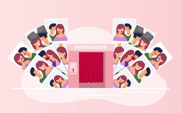 Foto di varietà con coppie felici dalla cabina dello stand