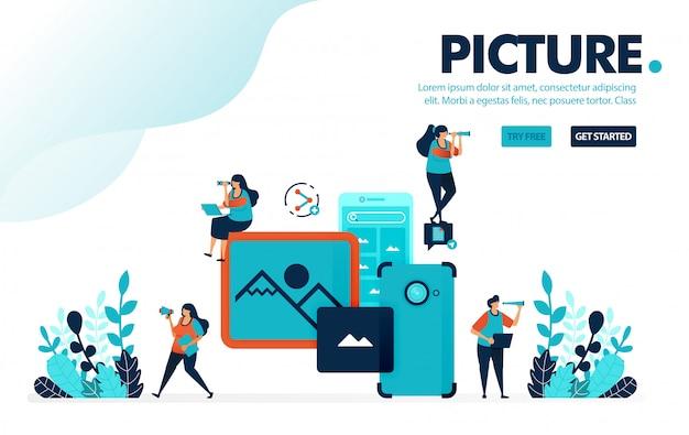Foto mobile, le persone scattano foto e immagini con la fotocamera mobile.