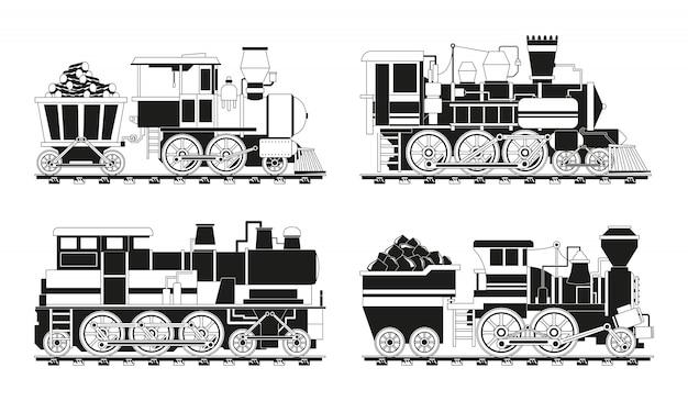 Foto monocromatiche di treni d'epoca