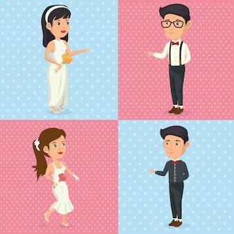 Foto romantica di personaggi appena sposati in posa