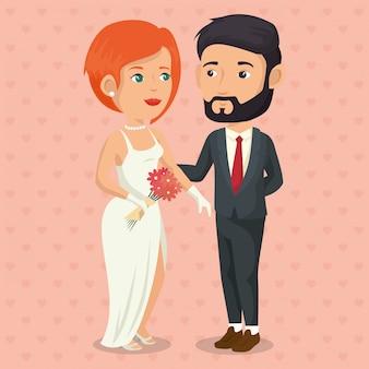 Foto romantica di una coppia appena sposata