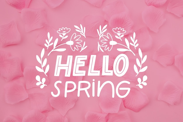 Foto rosa con scritte ciao primavera