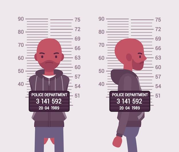 Foto segnaletica di un giovane uomo di colore
