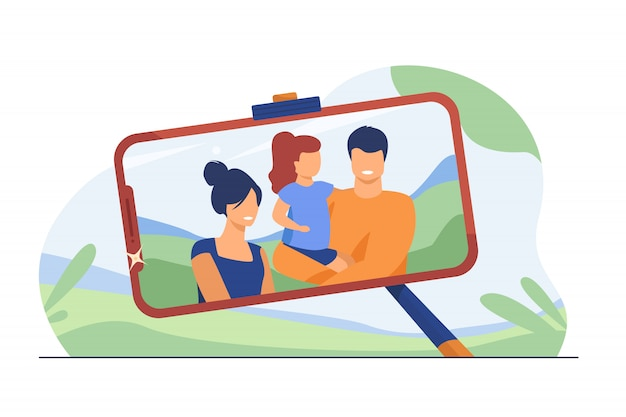Foto selfie di famiglia sullo schermo del telefono