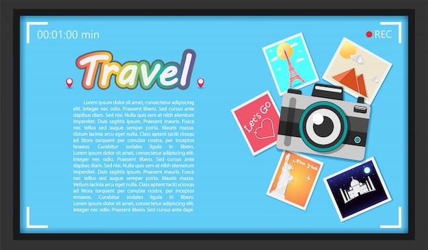 Fotocamera fotografica di viaggio intorno al concetto del mondo