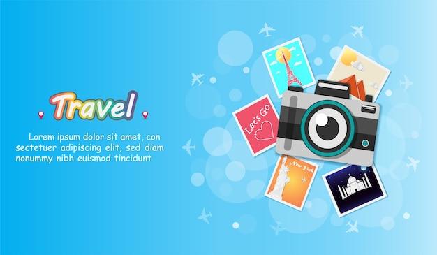 Fotocamera viaggia per il mondo.