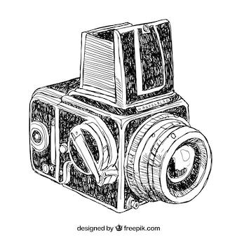 Fotocamera vintage disegnata a mano