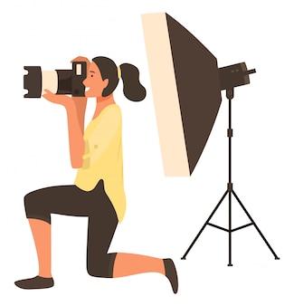 Fotografare con flash light, macchina fotografica