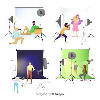 Fotografi impegnati di personaggi dal design piatto