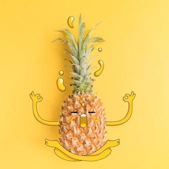 Fotografia di ananas con illustrazione nello stato di zen