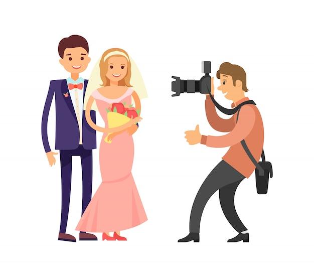 Fotografia felice dello sposo della sposa di nozze delle coppie