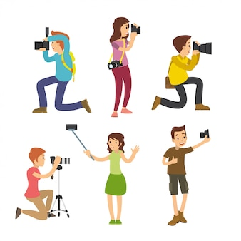Fotografo di scattare foto con diverse pose