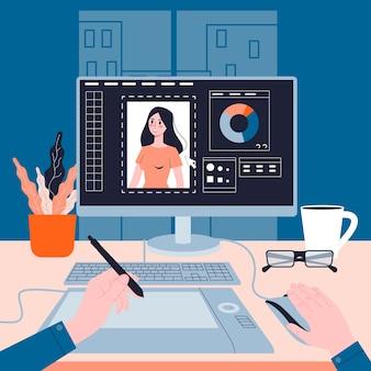 Fotografo professionista modifica foto sul computer. er editing di immagini con software professionale. illustrazione
