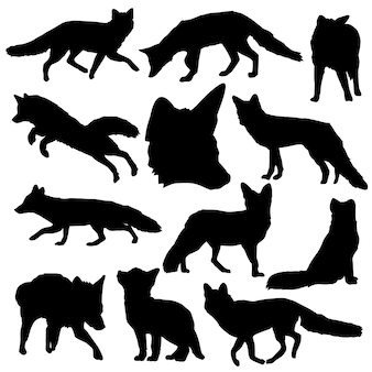 Fox animal forest clip art silhouette vettoriale
