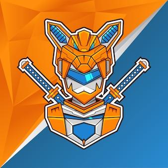 Fox assasin head illustrazione logo esports