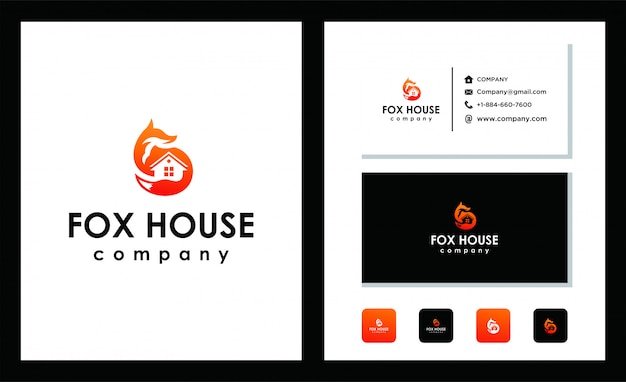 Fox house logo design template
