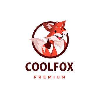 Fox pollice in alto mascotte personaggio icona logo illustrazione