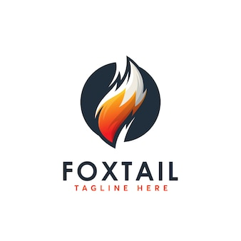 Fox tail logo design template abstrack
