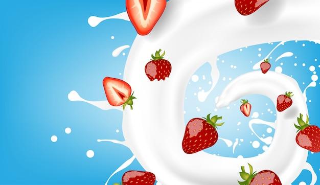 Fragola con modello di latte versando