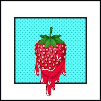 Fragola dolce gocciolante stile pop art