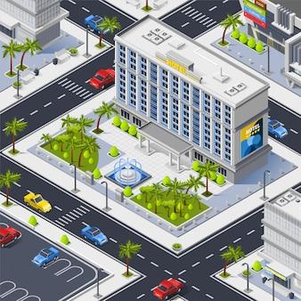 Frammento della città con la costruzione dell'hotel di lusso