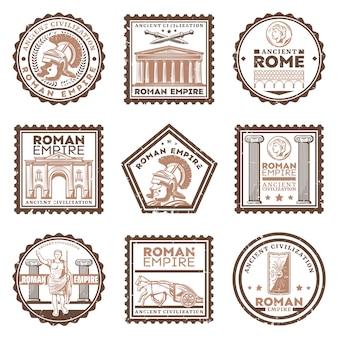 Francobolli d'epoca antica civiltà romana con iscrizioni spade gladiatore scudo arco trionfale