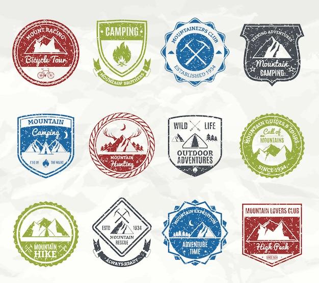 Francobolli di avventura in montagna