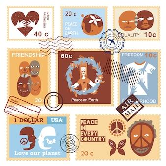 Francobolli internazionali di simboli di amicizia