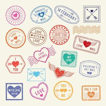 Francobolli postali romantici d'epoca. vector gli elementi di amore per l'album o le lettere progettano