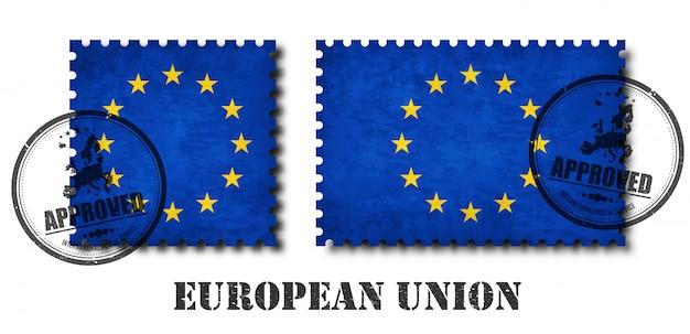Francobollo del modello della bandiera dell'unione europea