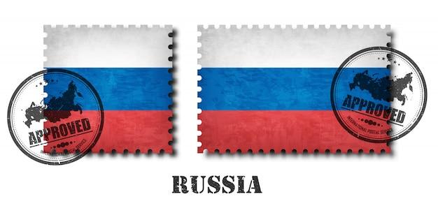 Francobollo del modello della bandiera della russia o della russia