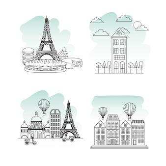Francobollo di parigi francia bella monumenti monumenti francesi
