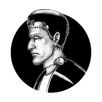 Frankenstein, close up illustrazione puntinismo