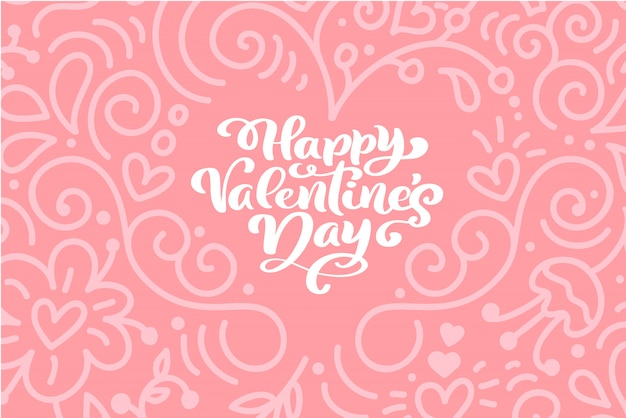 Frase di calligrafia buon san valentino con cuori.
