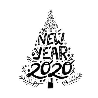 Frase di calligrafia felice nuovo anno 2020 a forma di albero di natale.