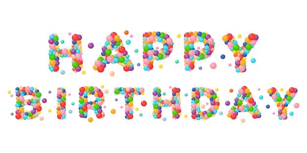 Frase di vettore del fumetto buon compleanno per palline colorate per bambini.