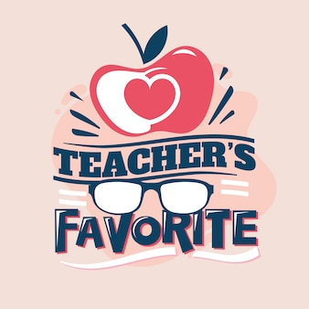 Frase preferita dell'insegnante, apple love with eyeglass, back to school illustration