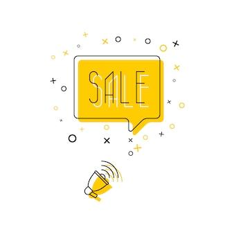 Frase 'vendita' in nuvoletta gialla e megafono su bianco