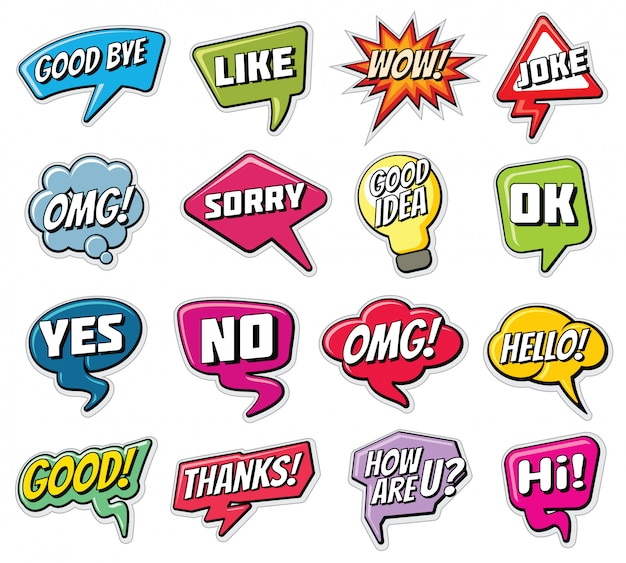 Frasi di chat. parole comiche divertenti nelle nuvole di discorso messe.